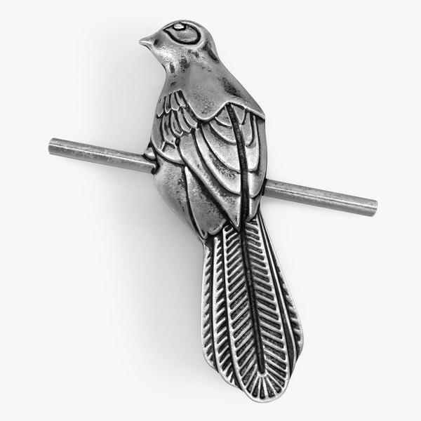 3D silvery mockingbird badge model