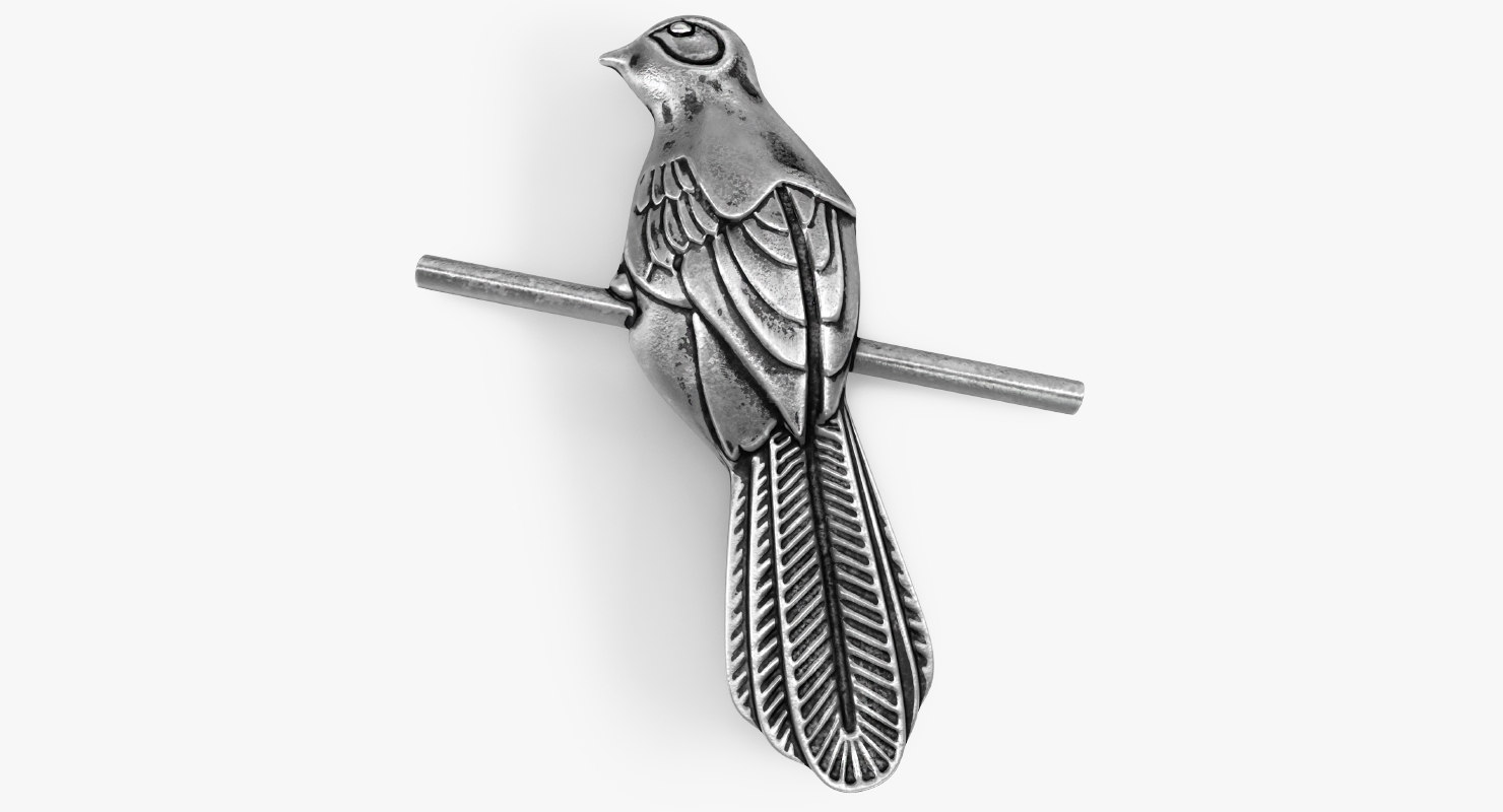 3D silvery mockingbird badge model