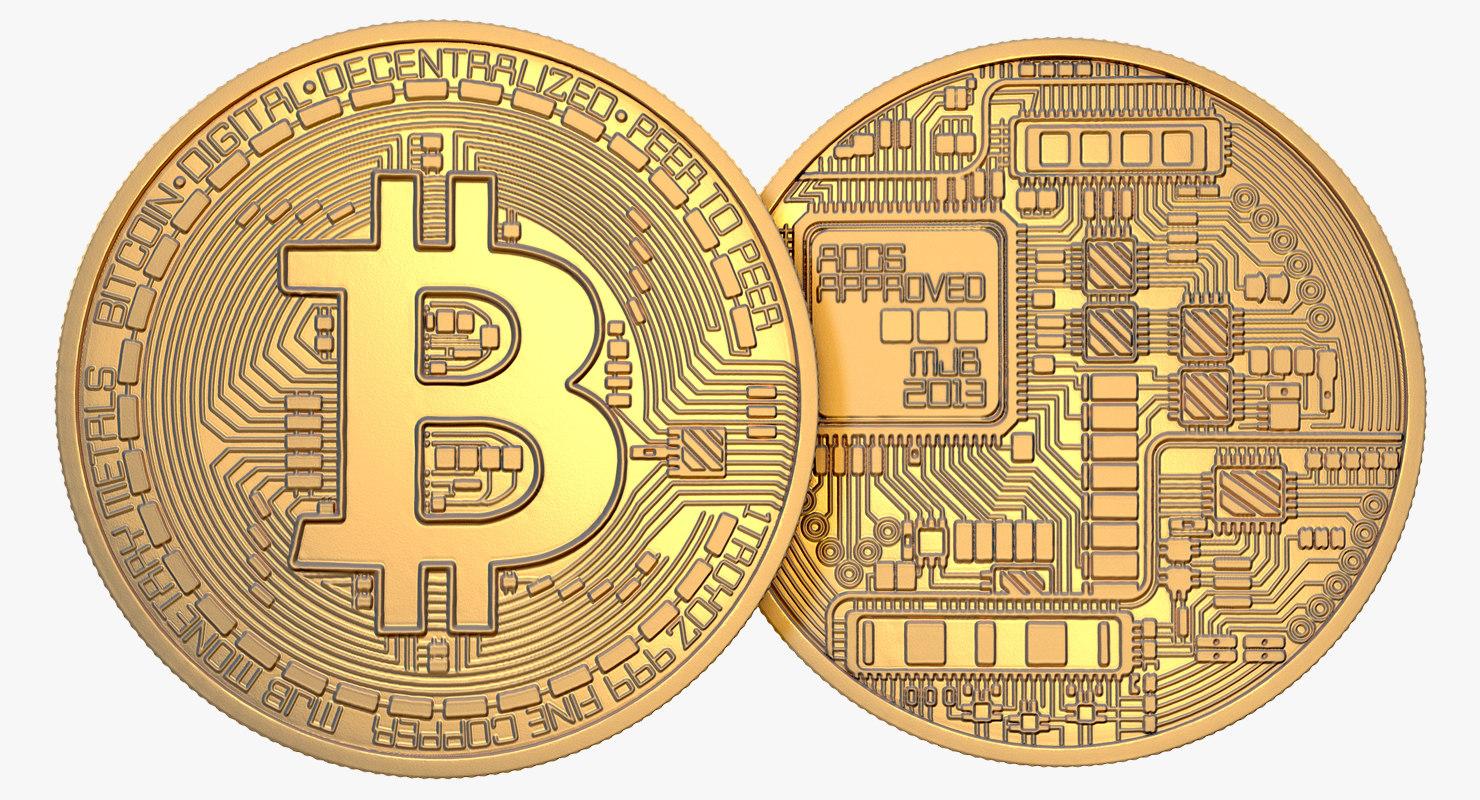 3D gold bitcoin coin model