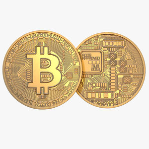 3D gold bitcoin coin model