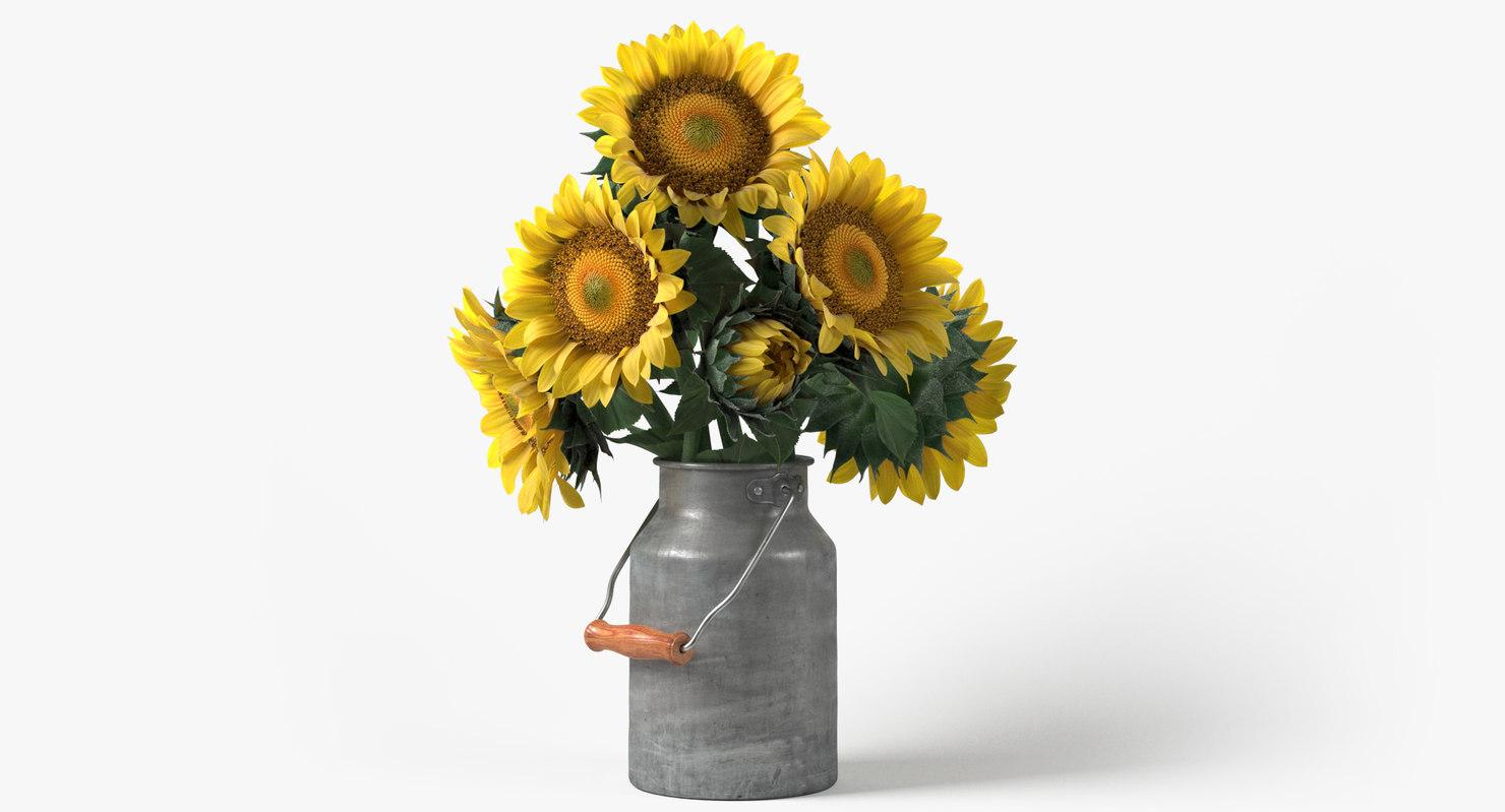 3D photorealistic sunflowers bouquet flowers model