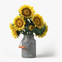 3D photorealistic sunflowers bouquet flowers model