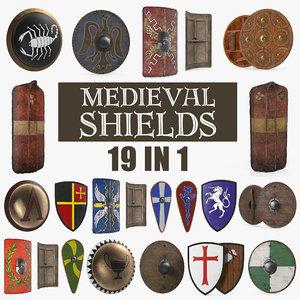 3D medieval shields
