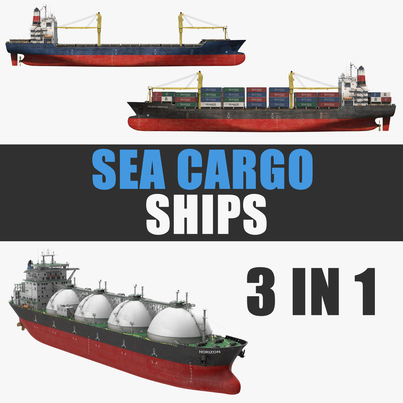 3D model sea cargo ships