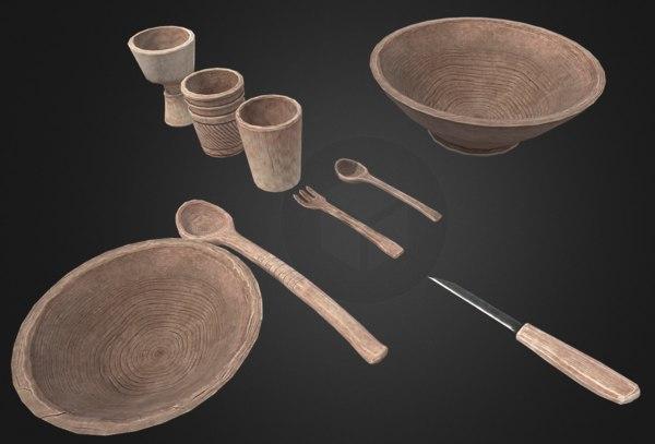 3D wooden tableware pack model