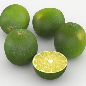 3D green lime fruit model