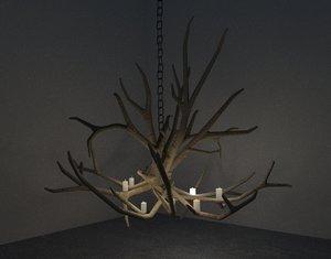 3D antler chandelier