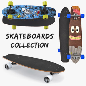 3D skateboards kicktail longboard