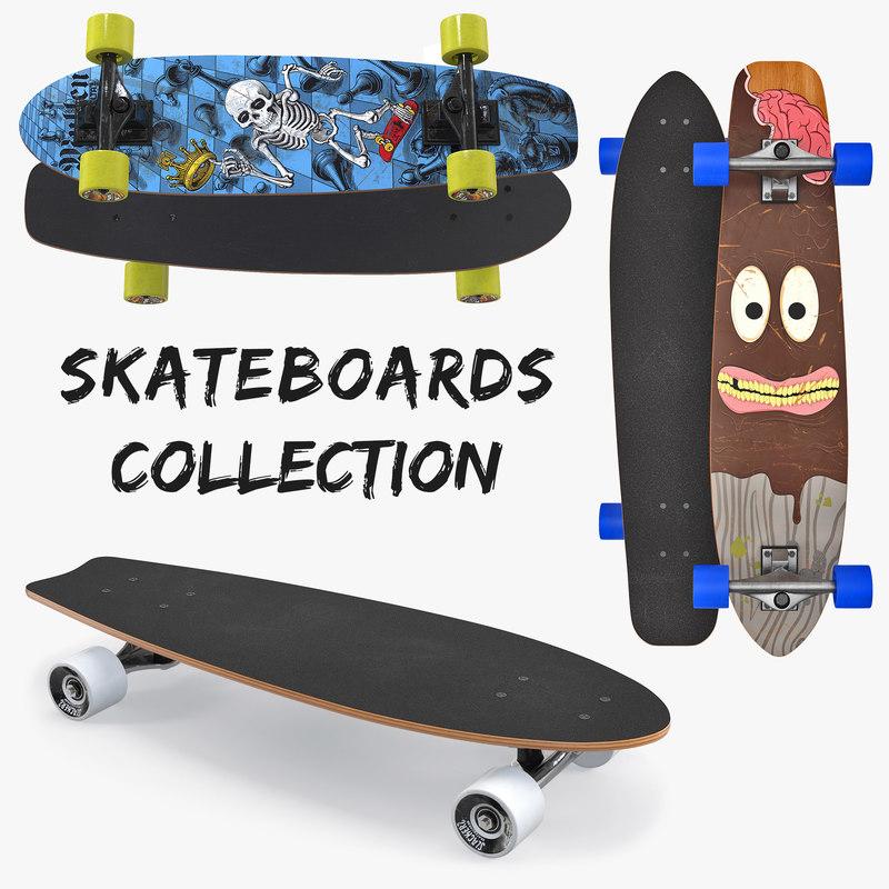 3D skateboards kicktail longboard