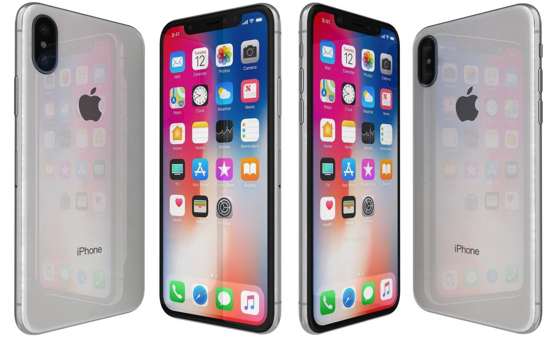 apple iphone x silver 3D model