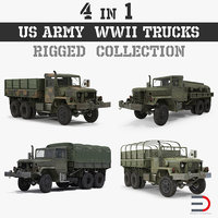3D army wwii rigged trucks