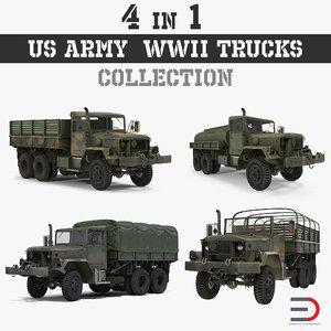 army wwii trucks 3D