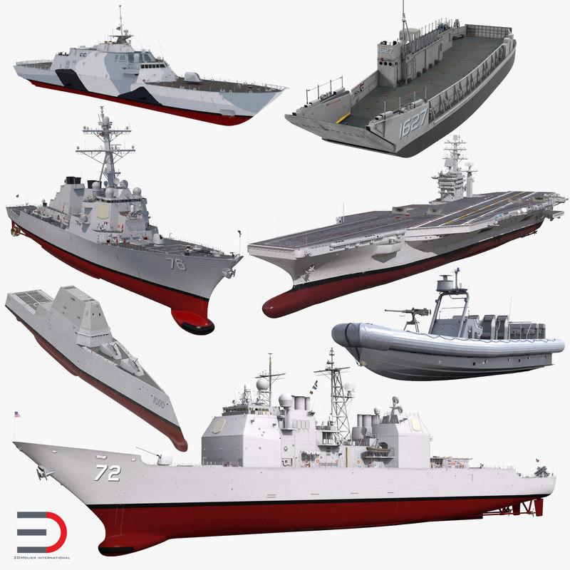warships stealth ship 3D model
