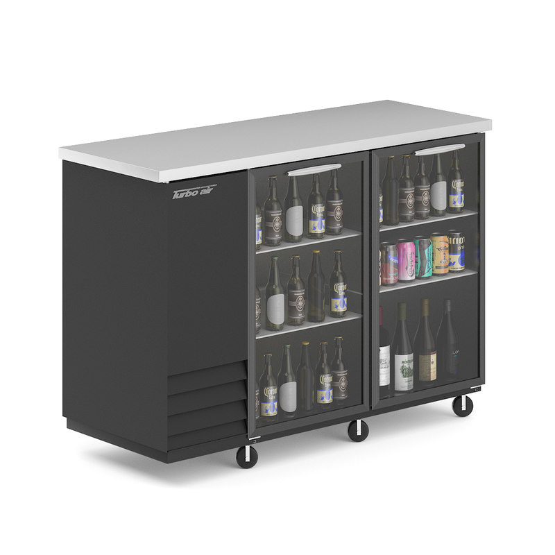 3D model black fridge bottles cans