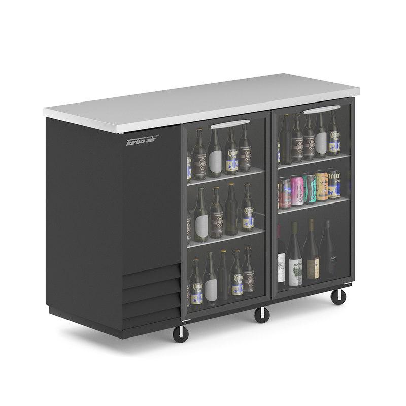 3D black fridge bottles cans