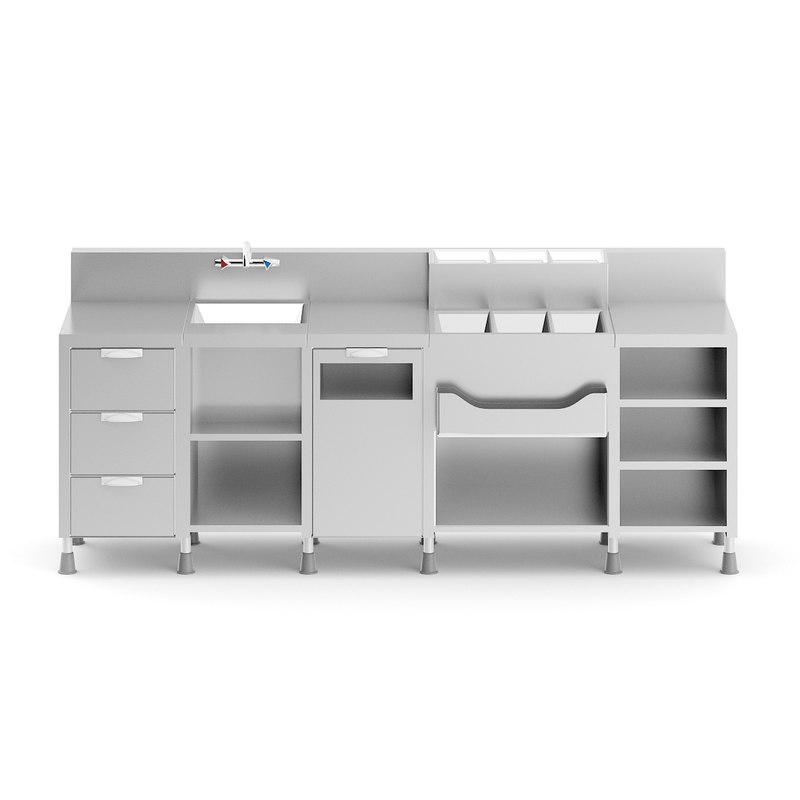 metal bar station 3D model