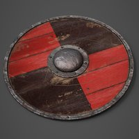 3D wooden shield wood model
