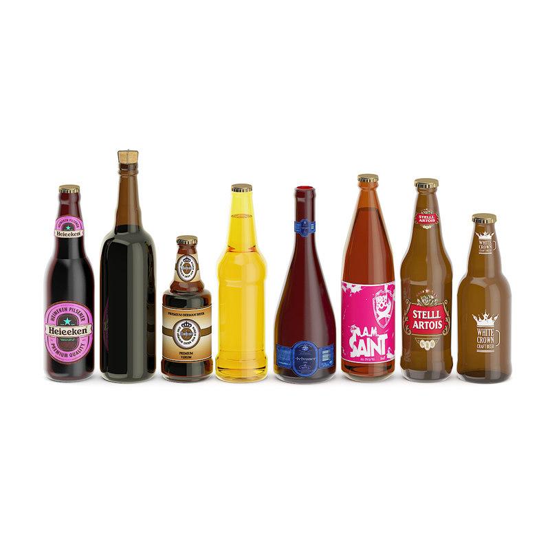 3D bottles beer