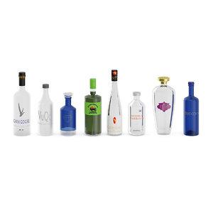 3D model bottles liquor