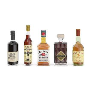 3D bottles liquor