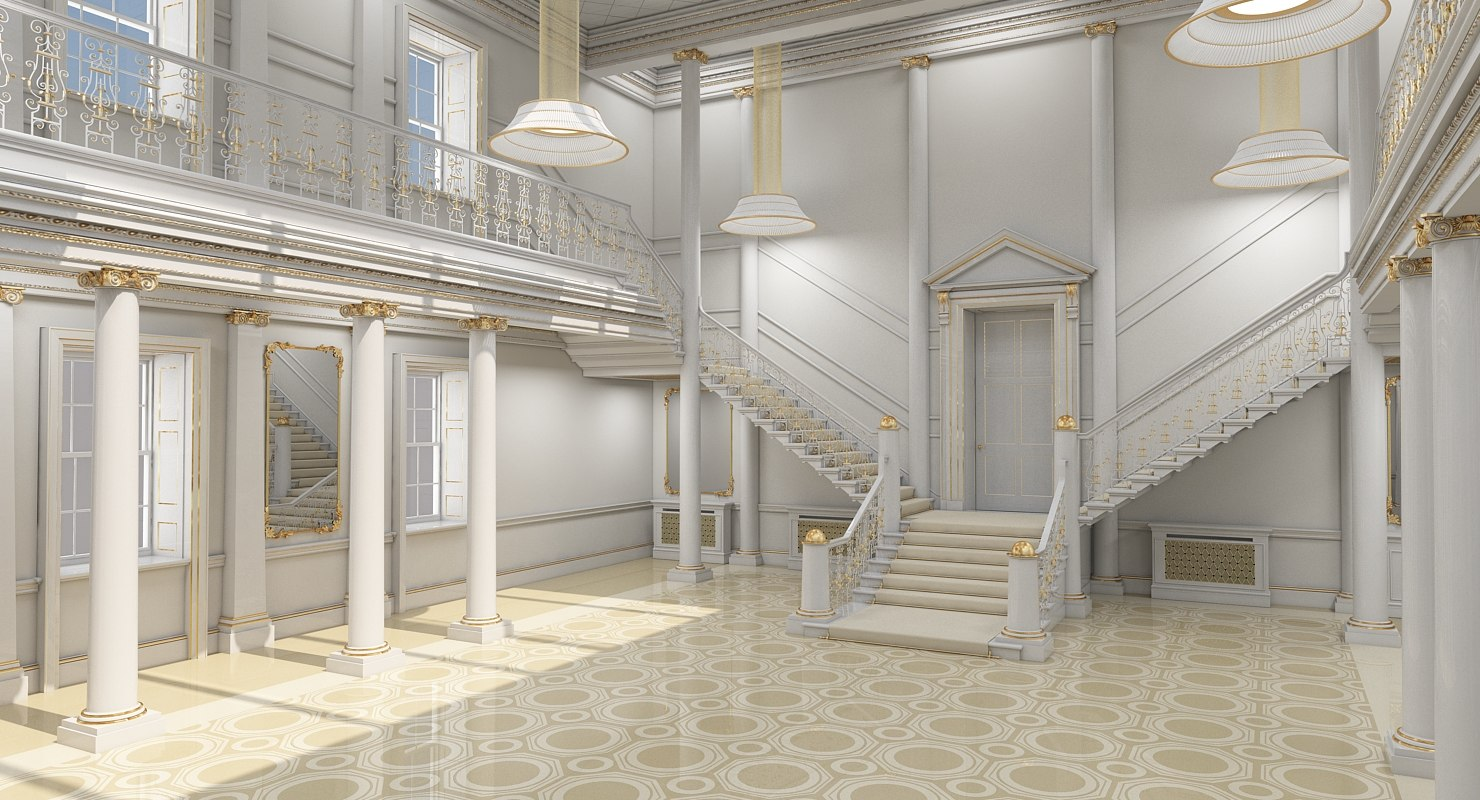 3D model classical grand staircase 2