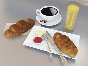 3D menu breakfast set