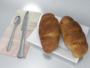 3D model realistic breakfast set bread