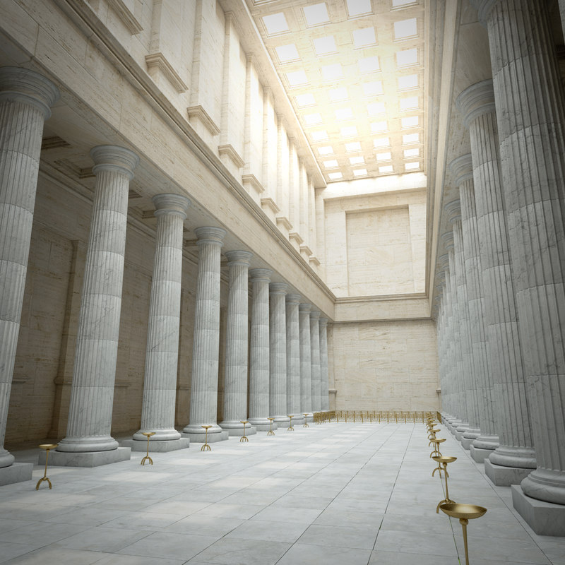 greek temple interior model