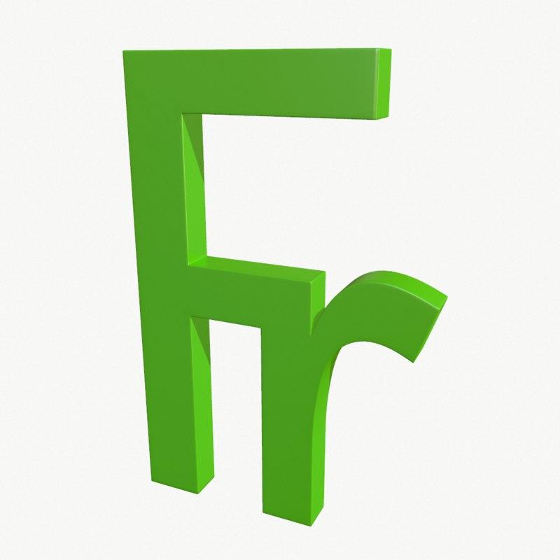 3D franc symbol model
