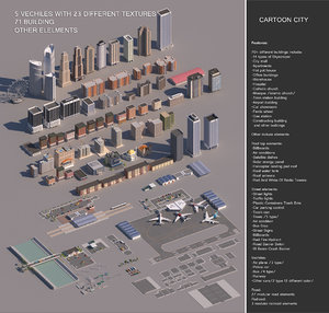 realistic cartoon city modular 3D