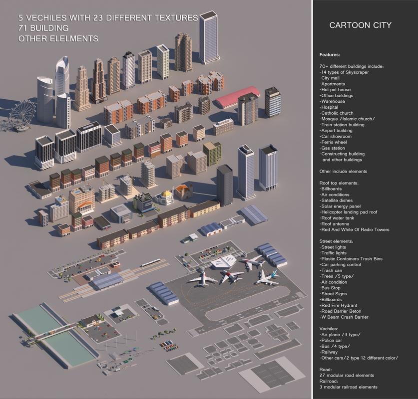 realistic cartoon city modular 3D