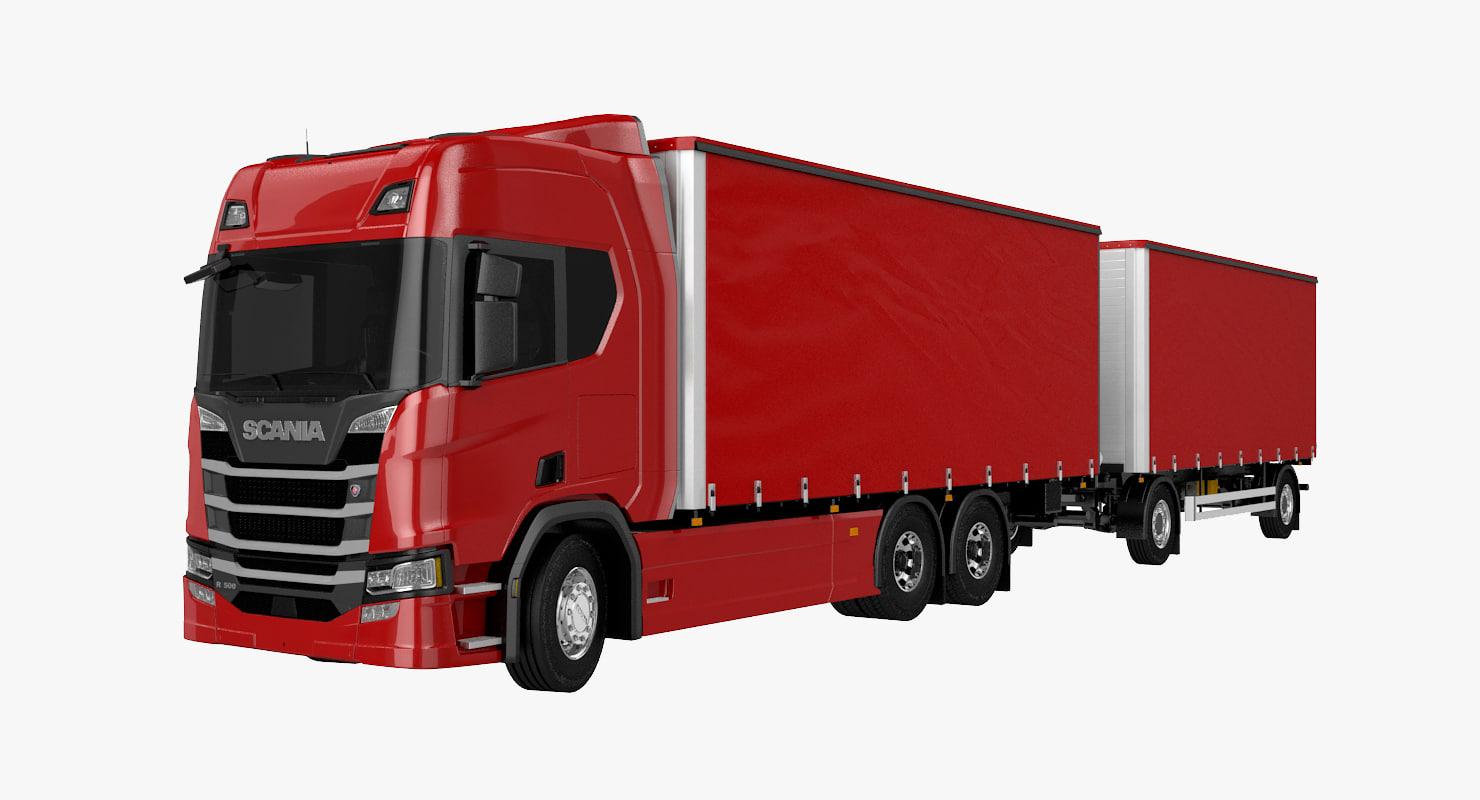 scania r500 tandem trailer model