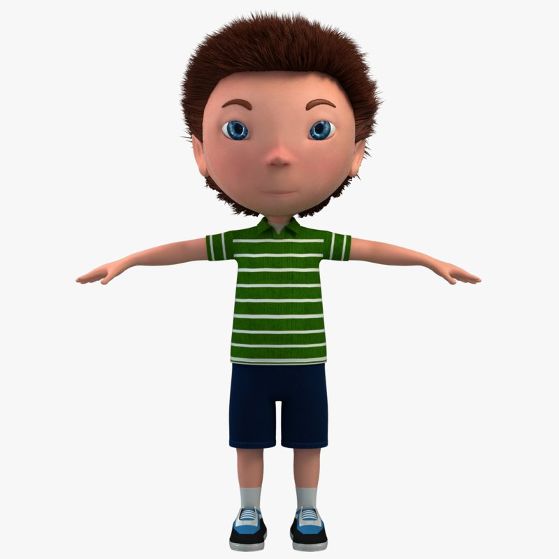 Cartoon Characters 3d Model : Boy character cartoon d model turbosquid
