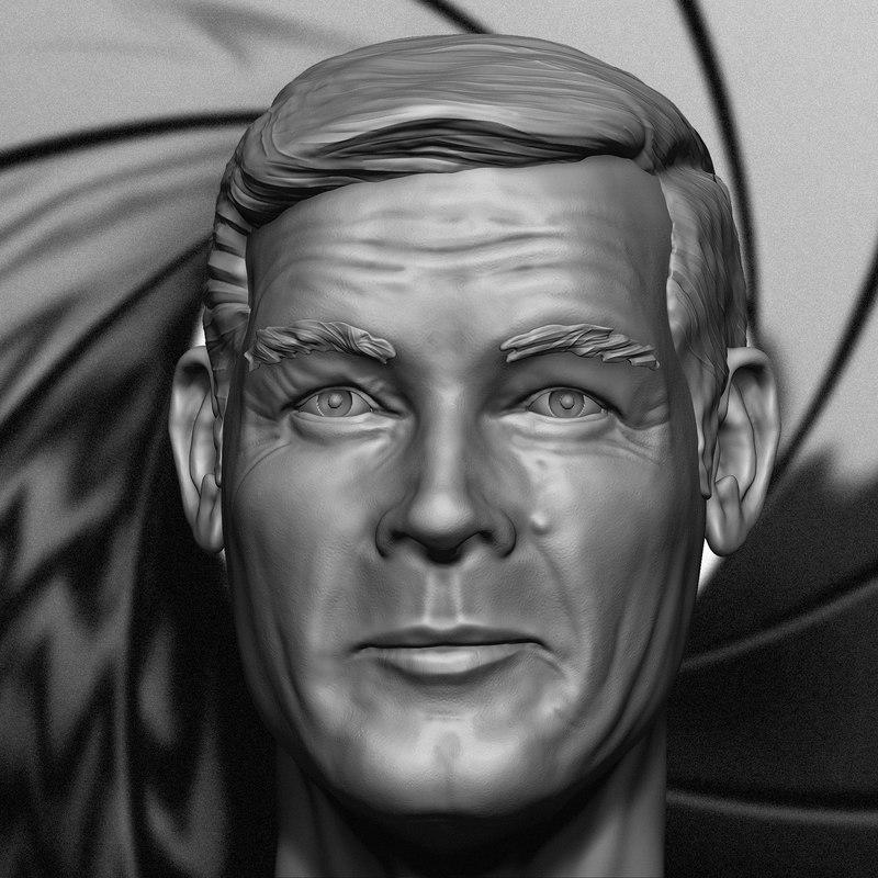 3D portrait roger moore head model