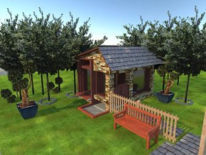 house sheep garden 3D model