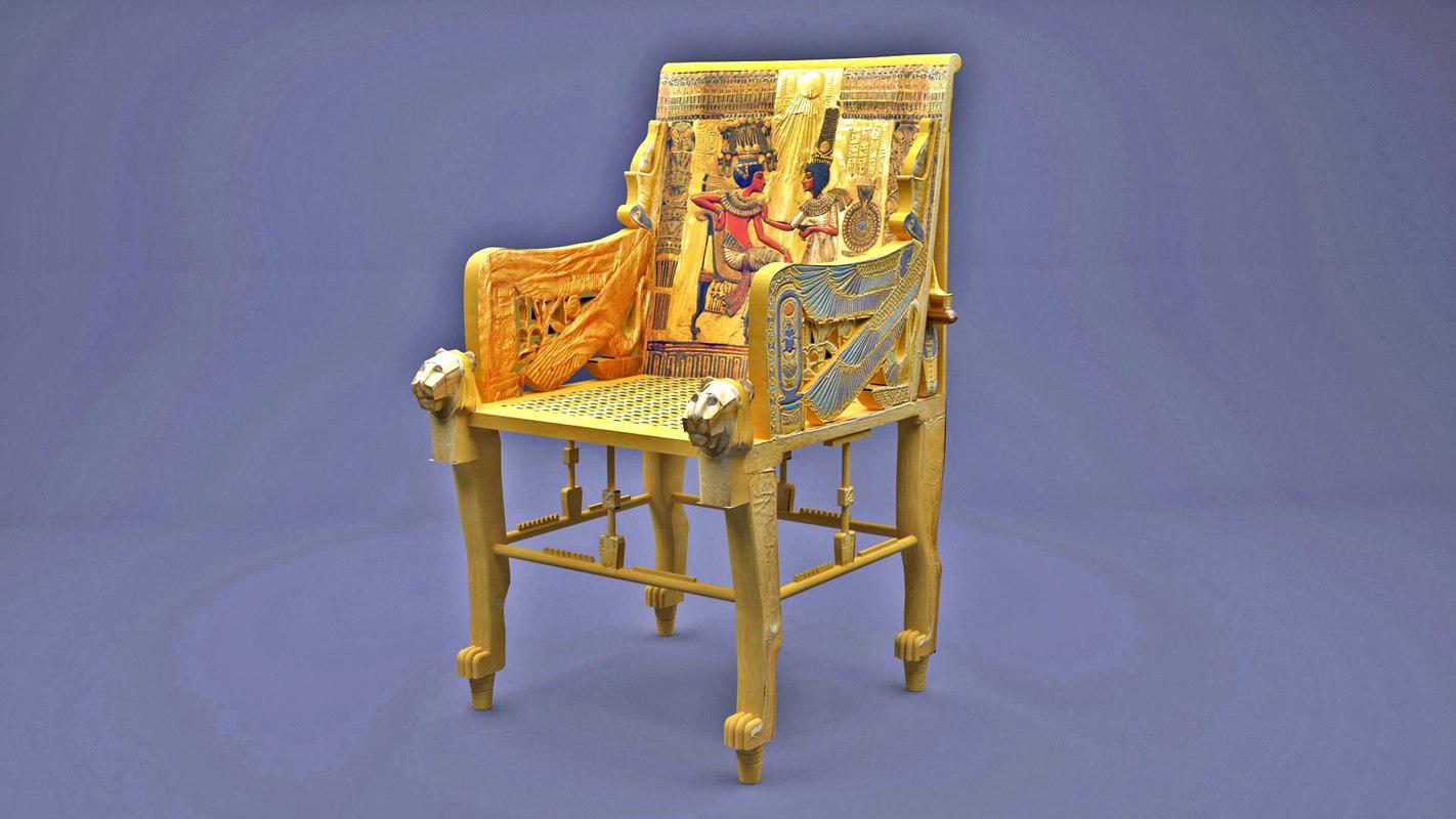 3D model king tutankhamun golden throne
