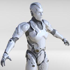 3D model cyborg human