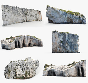 3D mediterranean cliffs model