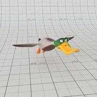 cartoon duck rig 3D model