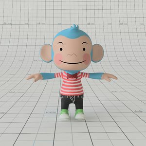 3D cartoon monkey rig