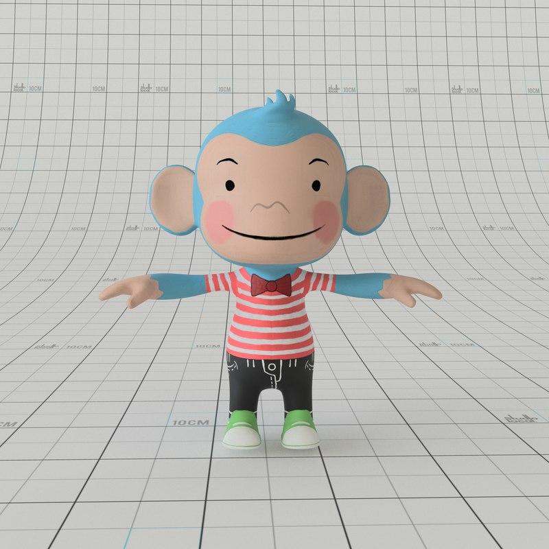 3D cartoon monkey rig
