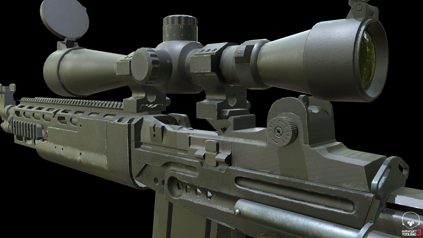 mk14 ebr rifle 3D model