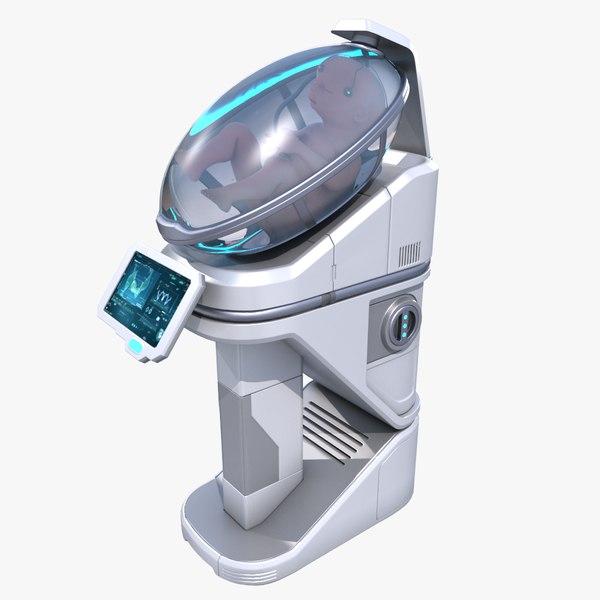 sci-fi incubation chamber fetus 3D model