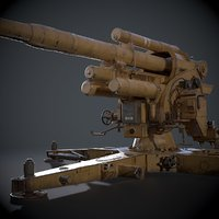 3D 88mm german flak canon