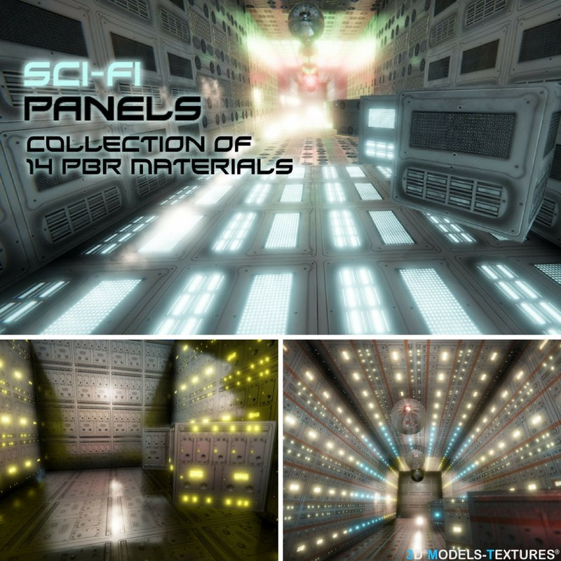 3D sci-fi panel pbr materials model