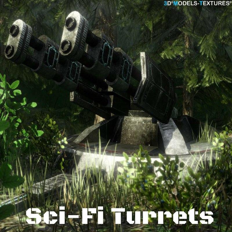 3D sci-fi turrets