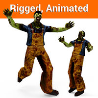 3D zombie worker rigged animation