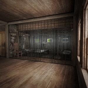 3D old west jail model
