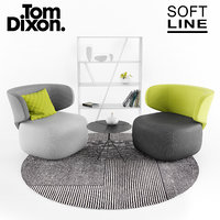 Softline Basel chair with Folia table, Tom Dixon rug, and B&B shelf