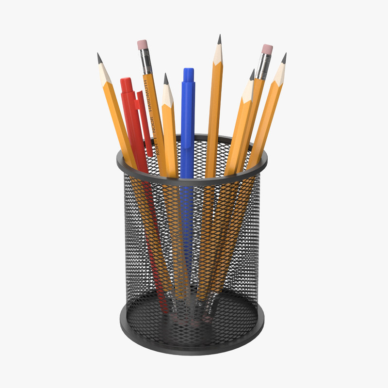 realistic pencil holder 3D model